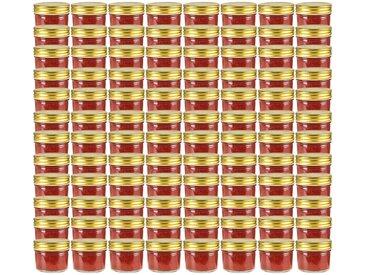 Pots à confiture avec couvercle doré 96 pcs Verre 110 ml - vidaXL
