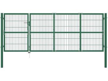 Portail de clôture de jardin avec poteaux 350x120 cm Acier Vert - vidaXL