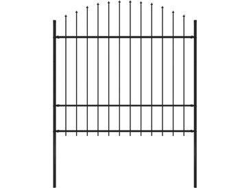 Clôture de jardin à dessus en lance Acier (1,5-1,75)x1,7 m Noir - vidaXL