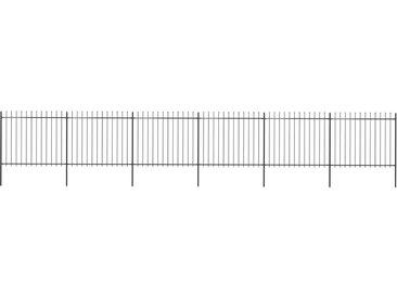 Clôture de jardin avec dessus en lance Acier 10,2 x 1,5 m Noir - vidaXL