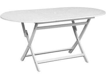 Table de jardin Blanc 160 x 85 x 75 cm Bois d'acacia massif - vidaXL