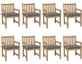 Chaises de jardin 8 pcs avec coussins gris Bois de teck solide - vidaXL