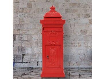 Boîte aux lettres à pilier Aluminium Vintage antirouille Rouge - vidaXL