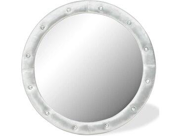 Miroir mural Cuir artificiel 80 cm Argenté brillant - vidaXL