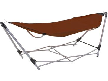 Hamac avec support pliable Marron - vidaXL