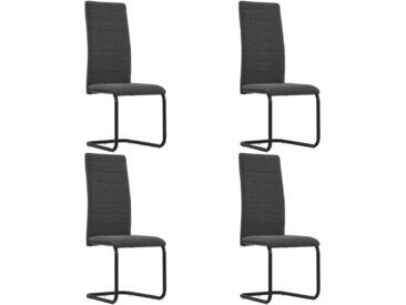 Chaises de salle à manger cantilever 4 pcs Gris foncé Tissu - vidaXL
