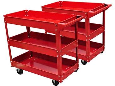 Chariot servante d'atelier 100 kg rouge - vidaXL