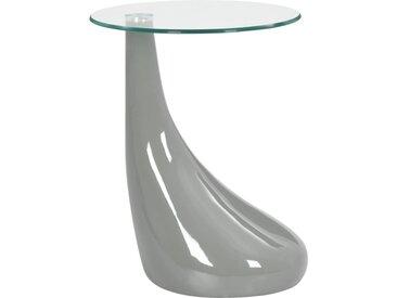 Table basse avec dessus de table en verre rond Gris brillant - vidaXL