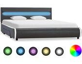 Cadre de lit avec LED Anthracite Similicuir 160x200 cm  - vidaXL