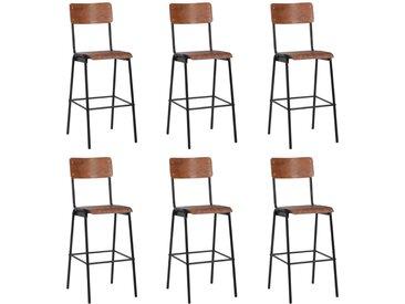 Chaises de bar 6 pcs Contreplaqué solide et acier - vidaXL