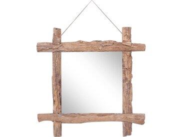 Miroir à bûches Naturel 70x70 cm Bois de récupération massif - vidaXL