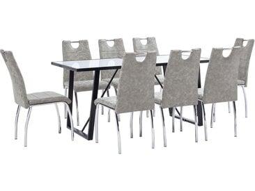 Ensemble de salle à manger 9 pcs Gris clair Similicuir - vidaXL