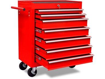 Chariot à outils d'atelier avec 7 tiroirs Rouge - vidaXL