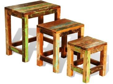 Table gigogne 3 pcs vintage Bois de récupération  - vidaXL