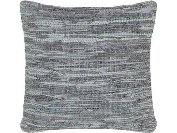 Coussin chindi Gris 60x60 cm Cuir et coton - vidaXL