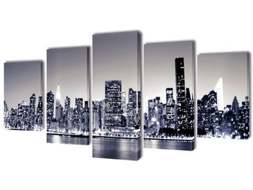 Set de toiles murales imprimées Horizon de New York monochrome - vidaXL