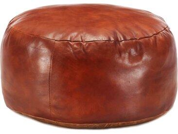 Pouf 60 x 30 cm Brun roux Cuir véritable de chèvre - vidaXL
