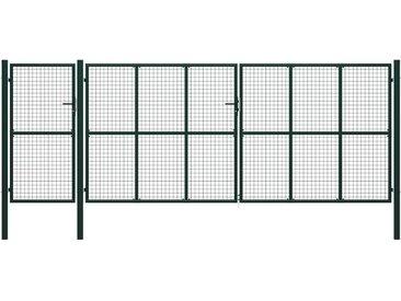 Portail de jardin Acier 500 x 200 cm Vert - vidaXL