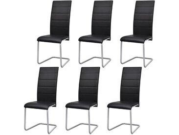 Chaises de salle à manger cantilever 6 pcs Noir Similicuir - vidaXL
