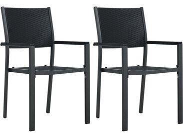 Chaises de jardin 2 pcs Noir Plastique Aspect de rotin - vidaXL