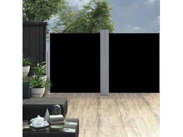 Auvent latéral double rétractable de patio 170x600 cm Noir - vidaXL