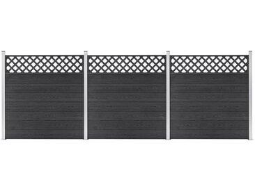 Ensemble de clôture WPC 3 Carré 526x185 cm Gris - vidaXL