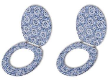 Sièges de toilette avec couvercles 2 pcs MDF Porcelaine - vidaXL