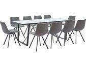 Ensemble de salle à manger 11 pcs Gris Similicuir - vidaXL