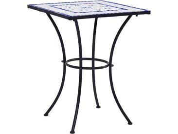 Table de bistro mosaïque Bleu et blanc 60 cm  Céramique - vidaXL
