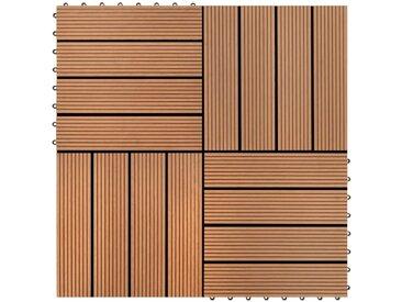 WPC carrelage de 11 pièces 30x30 cm pour terrasse-balcon-jardin brun - vidaXL