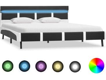 Cadre de lit avec LED Gris Similicuir 140 x 200 cm - vidaXL
