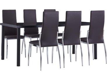 Ensemble de salle à manger 7 pcs Similicuir Marron - vidaXL