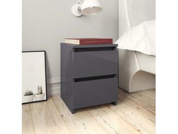 Tables de chevet 2 pcs Gris brillant 30 x 30 x 40 cm Aggloméré - vidaXL