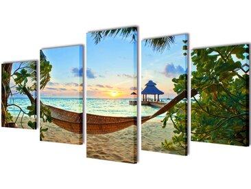 Set de toiles murales imprimées Plage avec hamac 200 x 100 cm - vidaXL