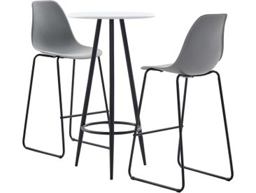 Ensemble de bar 3 pcs Plastique Gris - vidaXL