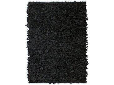 Tapis shaggy Cuir véritable 80 x 160 cm Noir - vidaXL