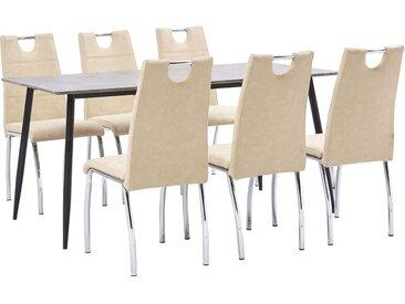 Ensemble de salle à manger 7 pcs Crème Similicuir - vidaXL