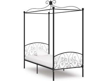 Cadre de lit à baldaquin Noir Métal 100 x 200 cm - vidaXL