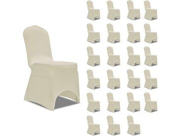 Housses élastiques de chaise Crème 24 pcs - vidaXL