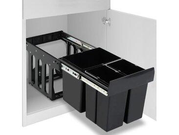 Poubelle amovible de cuisine Fermeture en douceur 48 L - vidaXL
