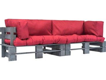 Canapés de jardin palette 2 pcs Coussins rouge Pinède FSC - vidaXL