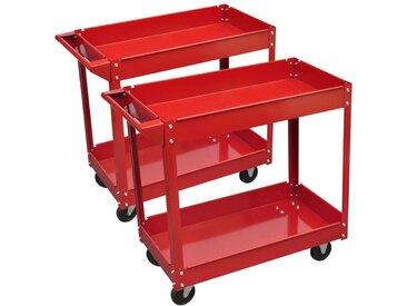 Chariot servante d'atelier charge 100 kg rouge (lot de 2) - vidaXL