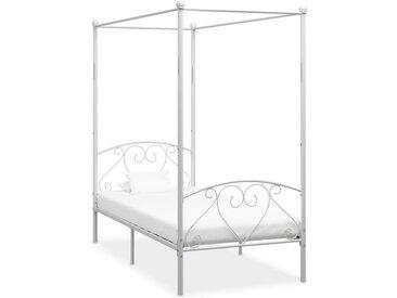 Cadre de lit à baldaquin Blanc Métal 120 x 200 cm  - vidaXL