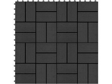 Carreau de terrasse 11 pcs WPC 30 x 30 cm 1 m² Noir - vidaXL