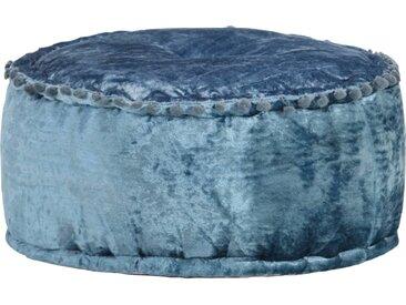 Pouf Rond Velours 40 x 20 cm Bleu - vidaXL