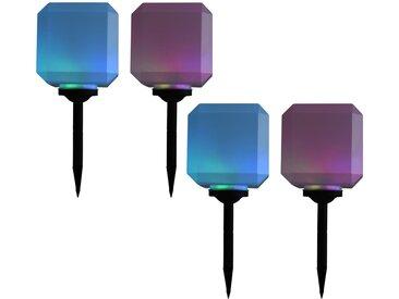 Lampes solaires cubiques à LED d'extérieur 4 pcs 20 cm RVB - vidaXL