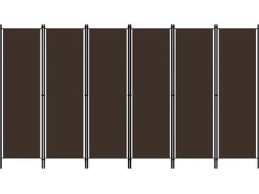 Cloison de séparation 6 panneaux Marron 300x180 cm - vidaXL