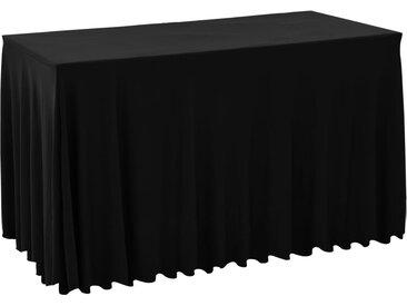 Nappes élastiques avec jupon 2 pcs 120x60,5x74cm Noir - vidaXL
