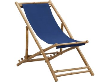 Chaise de terrasse Bambou et toile Bleu marine - vidaXL