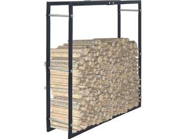 Portant de bois de chauffage Noir 100x25x100 cm Acier - vidaXL